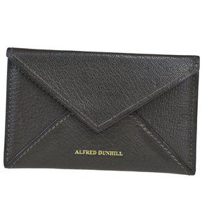 Auth Dunhill Leather Card Case Brown 03GC577